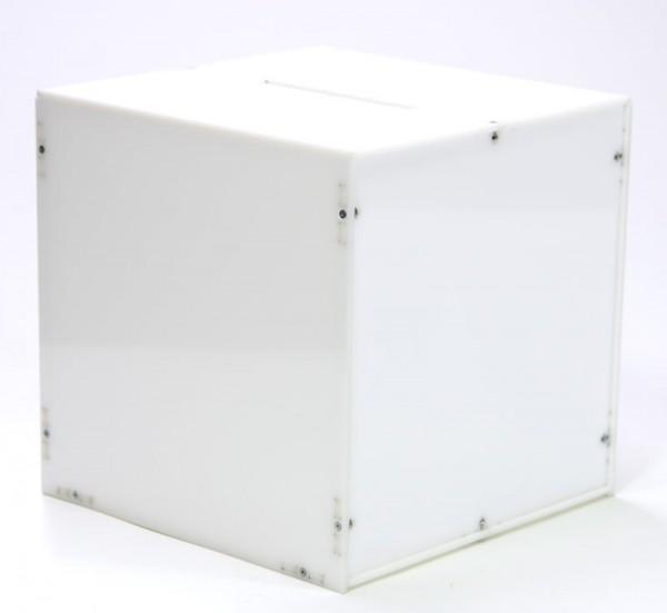White Acrylic Ballot Box / Raffle Box 23 x 23 x 23 cm